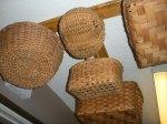 woodburneed bed, baskets, CAQ 058