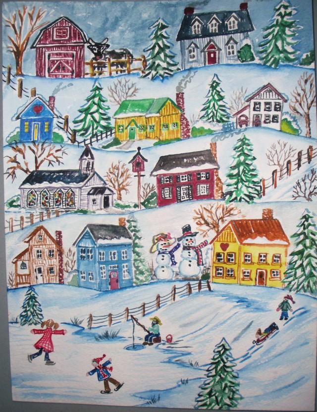 Christmas snowmen watercolor 001