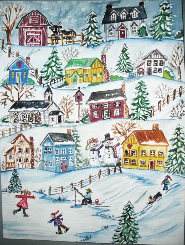 Christmas snowmen watercolor 002