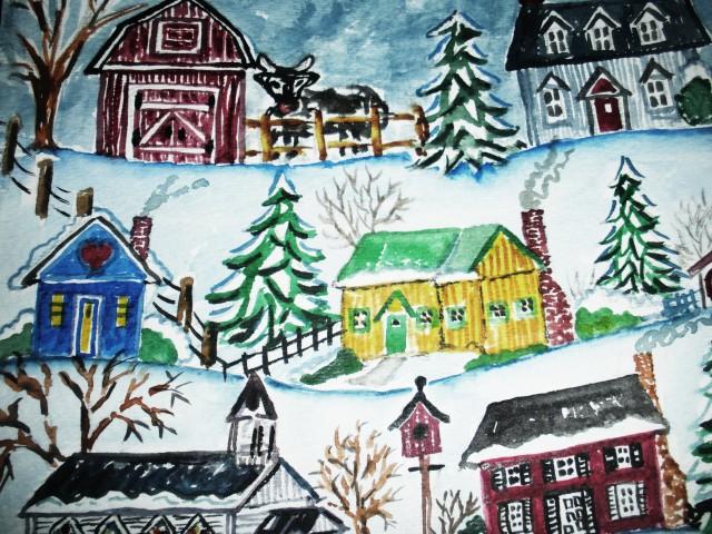 Christmas snowmen watercolor 004