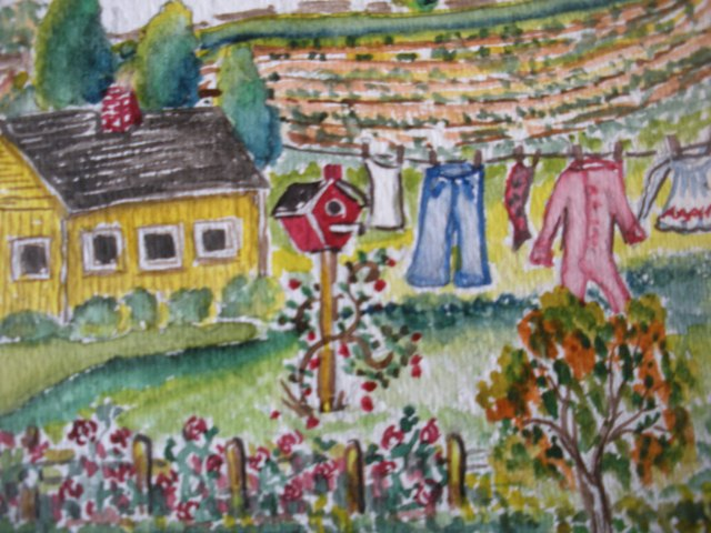 quilt class, finds, watercolor painting amaryllis 018