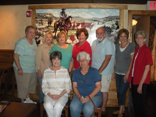 Seated from left: Mona Kaye Scroggins and Ann Shaw. Standing: Mary Gunderman, Linda Smith, Sandra Dunlap, Pam Huett, Jim Gatling, Sue Spivey, and Carolyn Mansker. Now do you remember what they taught?