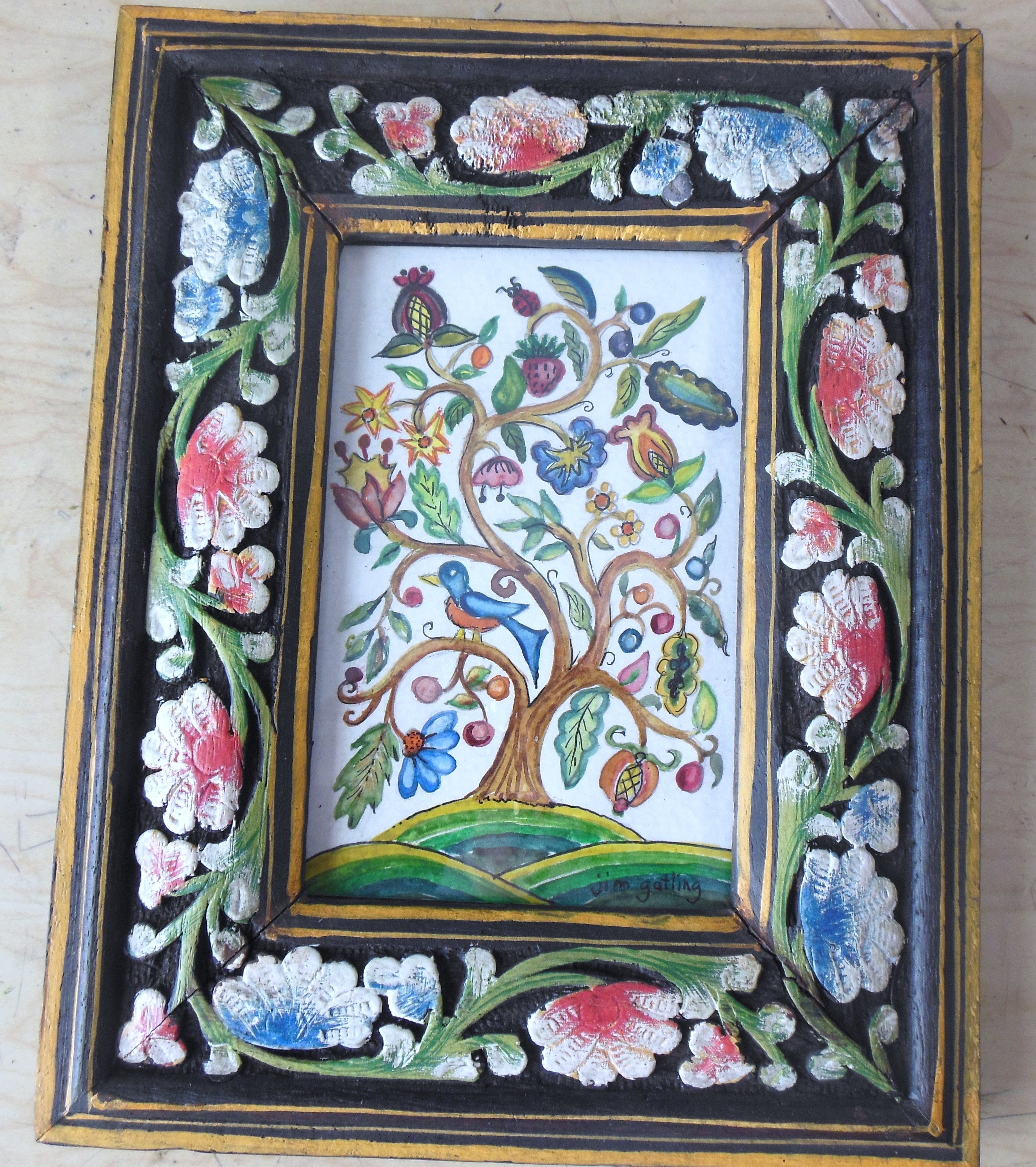 Tree of Life Design in Wooden Carved Hand-Painted Frame | Jim ...